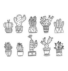 hand-drawn succulents and cactus doodle set - Modern Succulents Drawing, Cactus Drawing, Watercolor Cactus, Plant Drawing, Paper Succulents, Succulent Tattoo, Cactus Tattoo, Cactus Doodle, Cactus Art