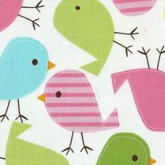RETRO Anne Kelle BIRD Fabric FQ Urban Zoologie SPRING Funky QUILTING Quilt