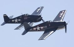 A flight of two Hellcats. Probably the least respected of the late war fighters. The aircraft of many top U.S. navy aces.