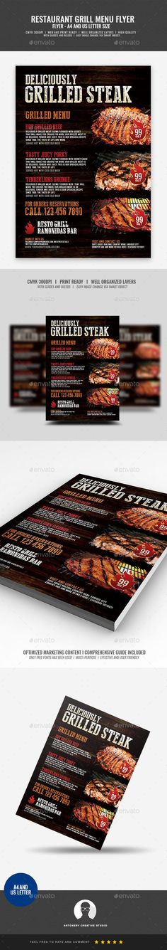 Buy Barbecue Restaurant and Steak House Flyer by Artchery on GraphicRiver. Barbecue Restaurant and Steak House Flyer Design Template Boost your company's sales and attract new customers! Barbecue Restaurant, Restaurant Flyer, Restaurant Recipes, Steak House Menu, Small Restaurant Design, Menu Flyer, Good Meatloaf Recipe, Meat Shop, Healthy Meats