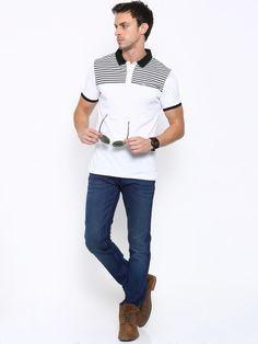 Buy LOCOMOTIVE Men Black Striped Polo T Shirt - Tshirts for Men | Myntra