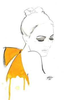 Watercolor Fashion Illustration - The Yellow Bow print