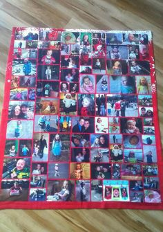 I ordered this amazing blanket from Collage.com and just LOVE it! I am sure there is a way to make one without having to order it for those of you who are talented in the sewing department. :) This will be passed down from generation to generation. What a wonderful keepsake!