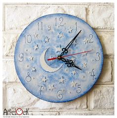 The Moon and Stars Blue Wall Clock Home Decor for by ArtClock, $29.90