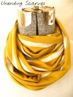 Summer infinity scarf mustard yellow gray by UnendingScarves, $14.99