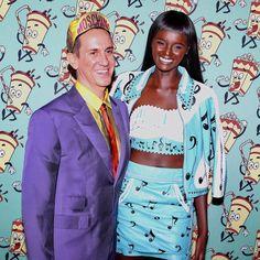 Jeremy Scott and model Duckie Thot Black Is Beautiful, Simply Beautiful, Beautiful People, Divided We Fall, Black Sisters, Dark Skin Girls, Jeremy Scott, Woman Standing, Stand Tall