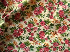 Rare Vintage 1930's 40's USA Cotton Interiors Fabric Red Rose Sprigs & Leaves | eBay