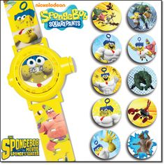 """The SpongeBob Movie Projection Watch It's time for an adventure! This watch projects 10 awesome images of the characters from the new SpongeBob movie! Adjustable strap, 9"""" L. Ages 6 and up. Plastic. Imported."""