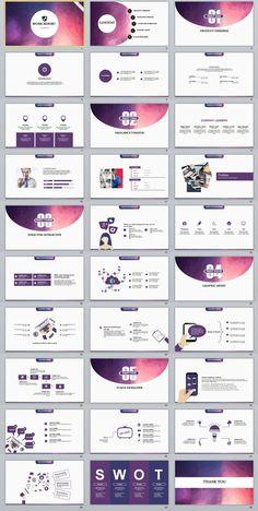 Business infographic : 30 Purple Slide Report PowerPoint templates on Behance #powerpoint #templates #