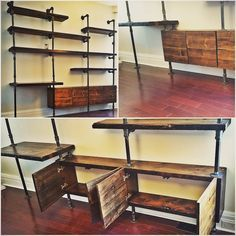 Pipe shelf wall unit with storage cubbies