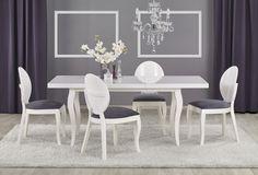 Ensemble de salle à manger Stylefy Mozart blanc gris - White Dining Table, Extendable Dining Table, Dining Set, Dining Chairs, Table Design Extensible, Extension Table, Elegant Dining, Modern Interior Design, Living Room Furniture
