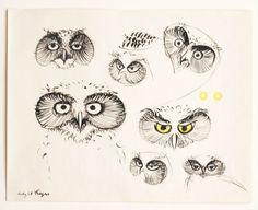 Herbert Bayer, Owls, 1948. Ink and gouache on paper. Via...