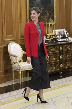 Queen Letizia holds audiences at the Zarzuela Palace.