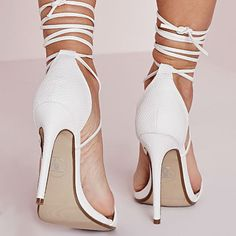 Barely There High Heel Lace Up Sandals