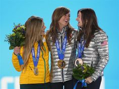 DAY 6:  (L-R) Silver medalist Torah Bright of Australia, gold medalist Kaitlyn Farrington of the United States and bronze medalist Kelly Clark of the United States celebrate during the medal ceremony for the Snowboard Ladies' Halfpipe