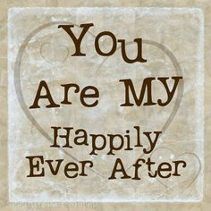You are My Happily Ever After, Love, Hearts, Valentine, Typography, Neutral 8 x 8 Word Art Print $20