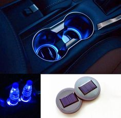 car accessories Its time to upgrade those boring cup holders that came with your car. They work great, but they do nothing but hold cups. These Solar LED Car Cup Holders should make thing. Car Interior Accessories, Car Accessories For Girls, Jeep Accessories, Kitchen Accessories, Diesel Trucks, Cup Holder Insert, Cup Holders, Design Autos, Preppy Car