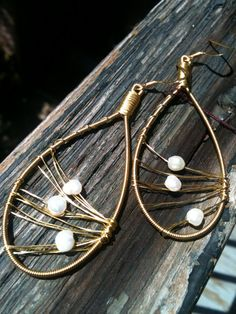 Freshwater Pearl Earrings made with Recycled Guitar Strings by ReStrung Jewelry, $25.00