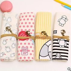 Kawaii Big Hero  The Baymax Canvas Roll Pencil Bag Stationery Storage Case Cosmetic Bag Promotional Gift Stationery FOD