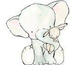 Elelphant Hug  8X10 Nursery Art Print  bunny and elephant. $20.00, via Etsy.
