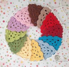Crochet Granny Triangle Scalloped Edge Rainbow by CannellaCrafts