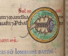 A depiction of Cancer, the symbol of the zodiacal crab, in the twelfth-century Shaftesbury Psalter; (Lansdowne 383   f. 5v). (British Library)
