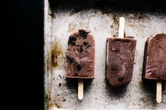 brownie fudgesicle pops recipe - I made these with less sugar, no brownies, and they were out of this world!!