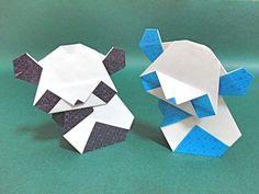 動物折り紙パンダの折り方作り方 創作Origami Panda 【創作折り紙の折り方・・・】