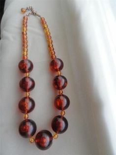 Vintage Jewelry Mid Century Rootbeer Root Beer Colored Beaded Necklace