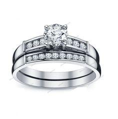 Channel Set Rd Cut Sim. Diamond 14Kt White Gold Plated 2-Piece Bridal Ring Set…