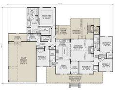 House Plan - Modern Farmhouse Plan: Square Feet, 5 Bedrooms, Bathrooms Modern F 5 Bedroom House Plans, Ranch House Plans, Best House Plans, Dream House Plans, Open House Plans, House Design Plans, Retirement House Plans, Square House Plans, Barndominium Floor Plans