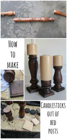 How to candlesticks bed posts-MyRepurposedLife