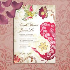 Colorful Bohemian Peacock Wedding Invitations, red , teal