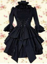 Black Long Sleeves Cotton Punk Lolita Dress