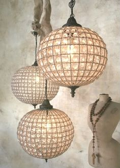 Antique Reproduction French Style Beaded Globe Chandeliers