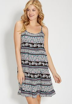 tiered dress in elephant and floral print | maurices