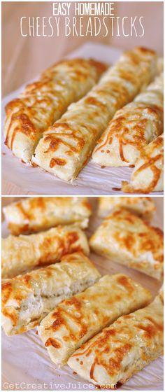 Easy Homemade Cheesy Breadsticks Recipe - so good and really easy!
