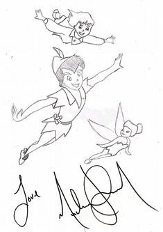 A drawing of Peter Pan, Wendy and Tinkerbell flying through the sky by Michael Jackson. Michael loved the story of Peter Pan, who wouldn't grow up. He admitted he didn't want to grow old and saw himself as Peter Pan in his heart.