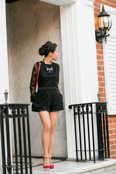 Romper :: Dolce Vita (black version here)  Shoes :: Schutz  Bag :: Celine  Accessories :: Burberry belt (similar here), Ellis Faas lip color,  Ek Thongprasert necklace (similar here & here), ring thanks to Tacori!