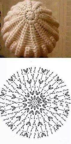 Exceptional Stitches Make a Crochet Hat Ideas. Extraordinary Stitches Make a Crochet Hat Ideas. Crochet Beret Pattern, Bonnet Crochet, Crochet Beanie Hat, Crochet Diagram, Beanie Pattern, Crochet Stitches, Knitted Hats, Crochet Patterns, Crochet Hats