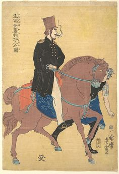 Utagawa Yoshitomi, (Japanese, active mid-19th century). An American Drawn from Life, 1861. The Metropolitan Museum of Art, New York. Gift of Lincoln Kirstein, 1959 (JP3329) #horses