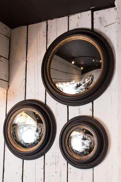 Set of 3 convex mirror frames Convex Mirror, Cinema Room, Small Mirrors, Study Inspiration, Hidden Storage, Pure White, Decoration, Interior Decorating, Interior Ideas