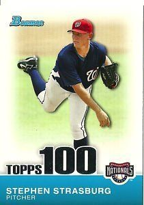 """2010 Bowman Stephen Strasburg """"Topps 100"""" Rookie Card Insert (Washington Nationals Pitching Phenom) - With Protective Screwdown Case! by Bowman. $9.99. 2010 Bowman Stephen Strasburg """"Topps 100"""" Rookie Card Insert (Washington Nationals) - With Protective Screwdown Case!"""