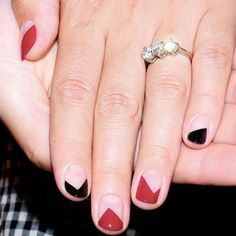 """18 Manicures To Copy, Stat!  #refinery29  http://www.refinery29.com/negative-space-nails#slide-17  """"This is a fairly simple design to achieve, but with strong impact,"""" says Torello. """"I'm always drawn to geometric nails and love how graphic they are. This design could be toned down...by doing every nail the same color.""""..."""