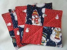 Snowman Christmas Coasters/Mug Rugs  Set of 4 by KraftyGrannysHome, $6.50