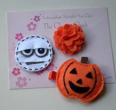 Hair clips  halloween   Little girl hair clips  by girliebowtique, $6.75