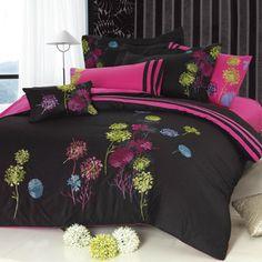 Seasons Midnight Meadow Duvet Cover Set In Black & Multicolor - Beyond the Rack