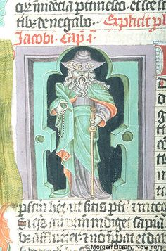 Bible, MS M.833 fol. 356v - Images from Medieval and Renaissance Manuscripts - The Morgan Library & MuseumApostle James Major, wearing pilgrim's hat decorated with scallop shells, holding rosary in right hand and staff in left hand, stands within architectural framework. Beginning of James.
