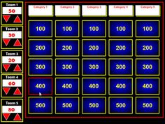Jeopardy generator that can be used with SmartBoard or projected from a computer.