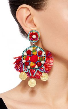 Coin Embellished Drop Earrings by Ranjana Khan for Preorder on Moda Operandi